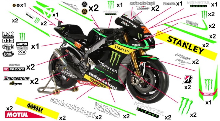 Stickers replica Yamaha YZR-M1 Monster Tech3 MotoGP 2014 (race to be clear coated)