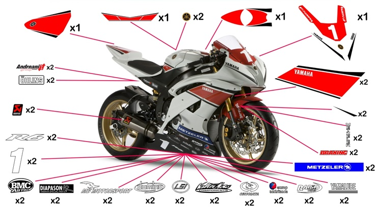 Stickers Yamaha R6 Cup 2012 Yzf R1 M S Abs We R1 60th