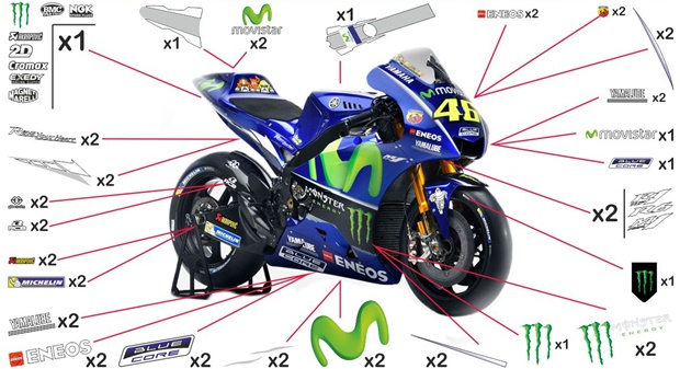 Kit adesivi replica Yamaha Movistar MotoGP 2017 (corsa)