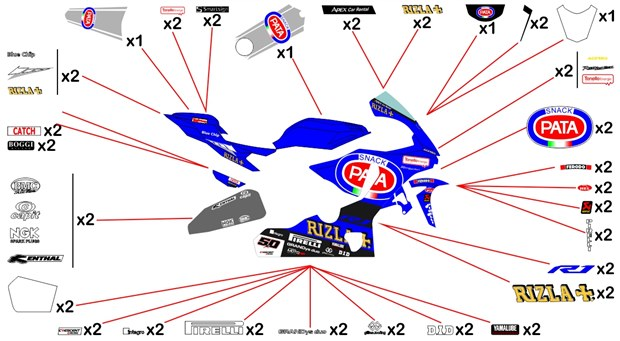 Stickers replica Yamaha Pata SBK 2017 (race)