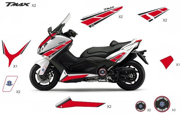 Stickers replica Yamaha 50th Anniversary red / white