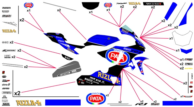 Stickers replica Yamaha Pata SBK 2018 (race)