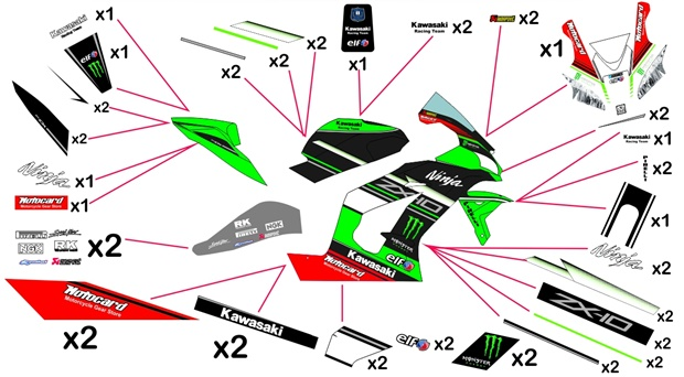 Stickers replica Kawasaki ZX-10RR Racing SBK 2017 (race)